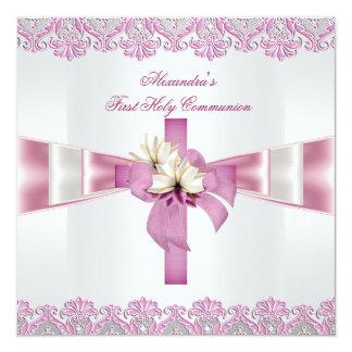 Rosa blanco 2 de los primeros chicas cruzados de invitación 13,3 cm x 13,3cm