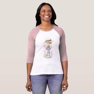 Rosa/blanco de la manga del ¾ del raglán de Sarah Camiseta