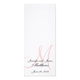 Rosa blanco de lino del monograma del programa de invitación 10,1 x 23,5 cm