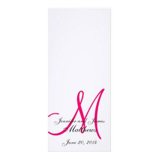 Rosa blanco de lino del monograma del programa de  invitacion personalizada