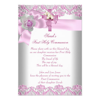 Rosa blanco de los primeros chicas cruzados de la  invitación