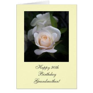 Rosa blanco del 90.o cumpleaños feliz tarjeta