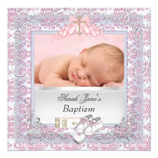 Rosa blanco del bautismo del bautizo de la niña comunicados