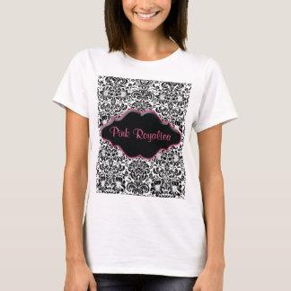 Rosa blanco del negro del damasco de la camiseta