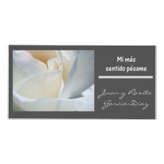 Rosa blanco del negro del espanol del pesame del s tarjeta fotográfica personalizada