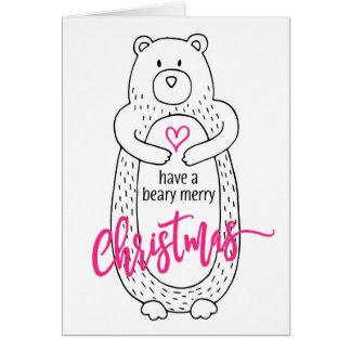 Rosa blanco del oso lindo divertido de la tarjeta