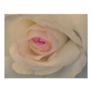 Rosa blanco invitación 10,8 x 13,9 cm