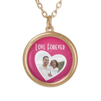 Rosa/blanco personalizados marco del corazón de la collar dorado