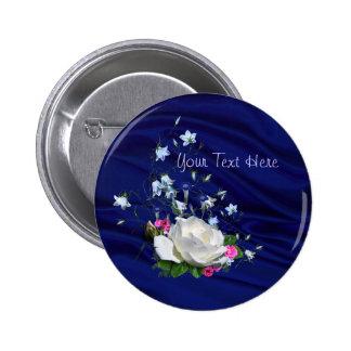 Rosa blanco y ducha nupcial de los Bluebells Pins