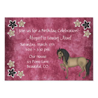 Rosa bonito y cumpleaños del caballo y de las invitación 12,7 x 17,8 cm