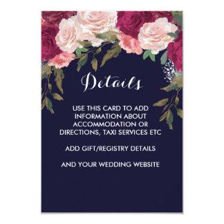 Rosa Borgoña de la tarjeta de detalles del boda de Invitación 8,9 X 12,7 Cm