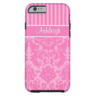 Rosa, caja rayada blanca del iPhone 6 del damasco Funda De iPhone 6 Tough