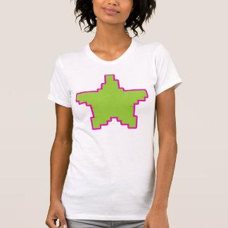 Rosa+Camiseta verde de la estrella del pixel Camiseta