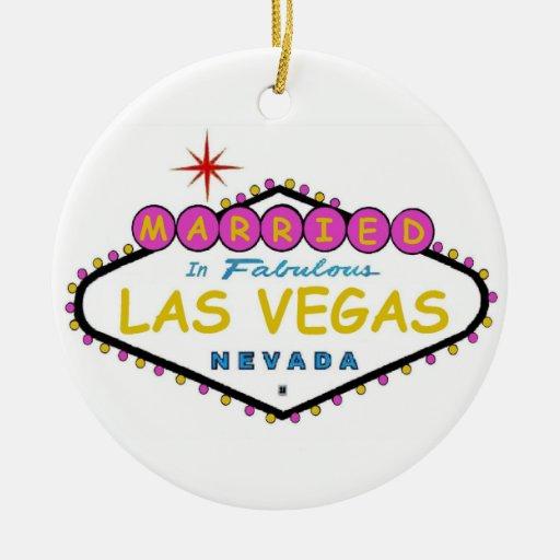 ROSA casado en el ornamento de Las Vegas Ornamento De Navidad