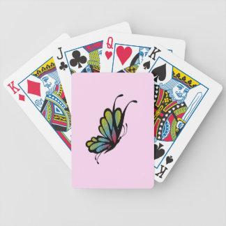 Rosa colorido de la mariposa del arco iris baraja de cartas bicycle