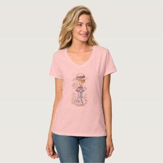 Rosa con cuello de pico de la camiseta de Sarah