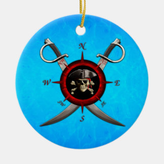 Rosa de compás del cráneo del pirata adorno redondo de cerámica