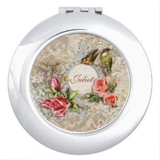 Rosa de damasco del vintage personalizado espejo compacto