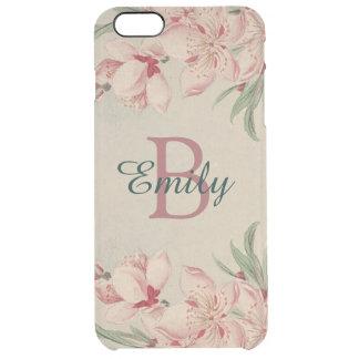 Rosa de la acuarela del vintage floral funda transparente para iPhone 6 plus
