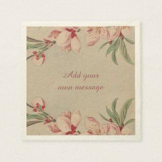Rosa de la acuarela del vintage floral servilleta desechable