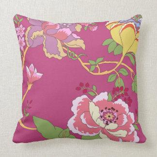 Rosa de la amapola del diseño floral del cojín decorativo