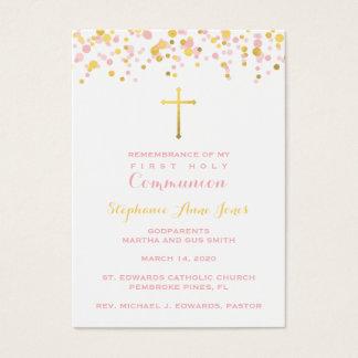 Rosa de la comunión y confeti del oro tarjeta de visita