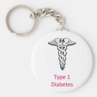 Rosa de la diabetes del tipo 1 llavero redondo tipo chapa