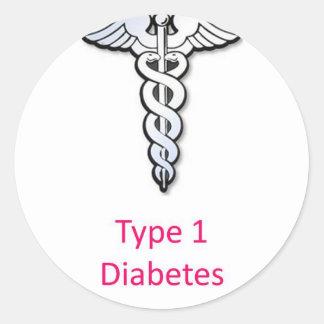 Rosa de la diabetes del tipo 1 pegatina redonda