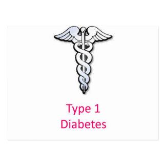 Rosa de la diabetes del tipo 1 postal