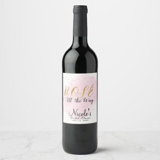 Rosa de la fiesta de cumpleaños de Rosé hasta el Etiqueta Para Botella De Vino
