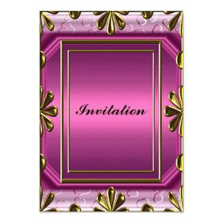 Rosa de la fiesta del cumpleaños de las mujeres invitación 12,7 x 17,8 cm