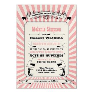 Rosa de la invitación del boda del circo de