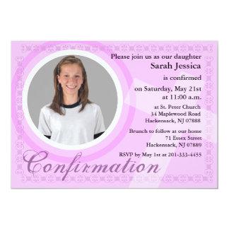Rosa de la invitación del chica de la confirmación invitación 12,7 x 17,8 cm