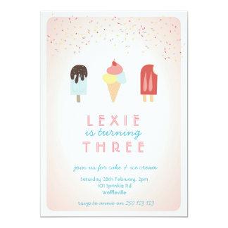 Rosa de la invitación del verano del helado y del invitación 12,7 x 17,8 cm