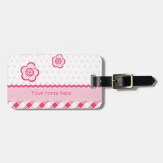 Rosa de la polca etiqueta para maleta