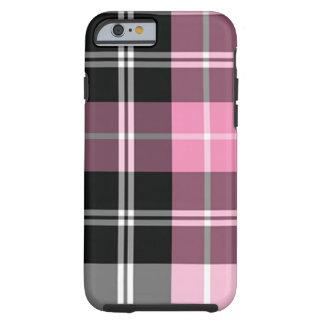 Rosa de la tela escocesa funda de iPhone 6 tough