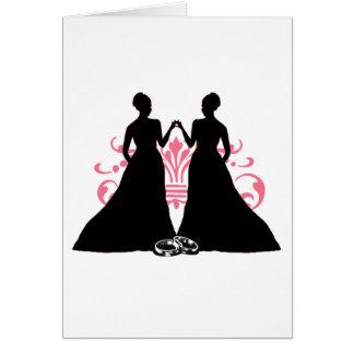 Rosa de las novias del matrimonio homosexual dos tarjeta de felicitación