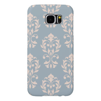 Rosa de LG Ptn II del damasco del corazón en azul Funda Samsung Galaxy S6
