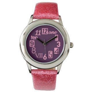 Rosa de Numbra y violeta oscura Relojes De Mano