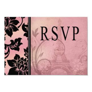 Rosa de RSVP el | de la torre Eiffel de Fleur de Invitación 8,9 X 12,7 Cm