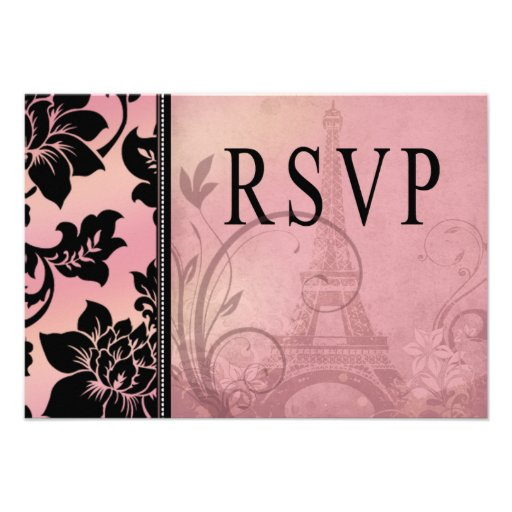 Rosa de RSVP el | de la torre Eiffel de Fleur de P Anuncios