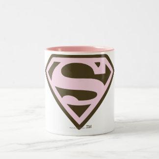 Rosa de Supergirl y logotipo de Brown Taza De Dos Tonos