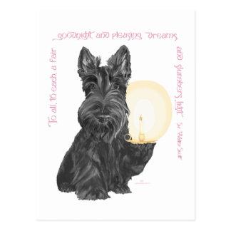 ROSA de Terrier del escocés buenas noches Postal