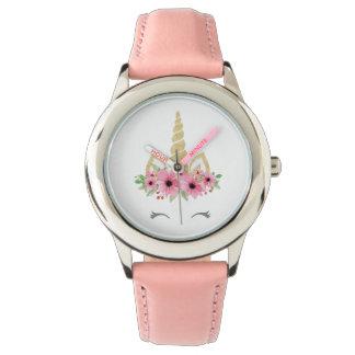 Rosa del acero inoxidable del unicornio reloj de pulsera