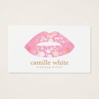 Rosa del artista de maquillaje y logotipo modernos tarjeta de visita