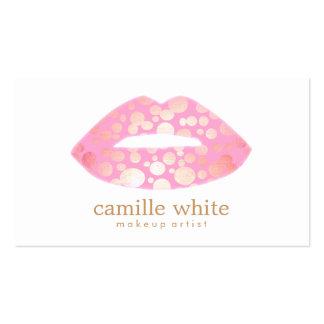 Rosa del artista de maquillaje y logotipo modernos tarjetas de visita