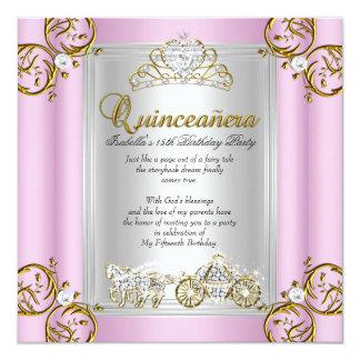 Rosa del cumpleaños de Quinceanera del cuento de Invitación 13,3 Cm X 13,3cm