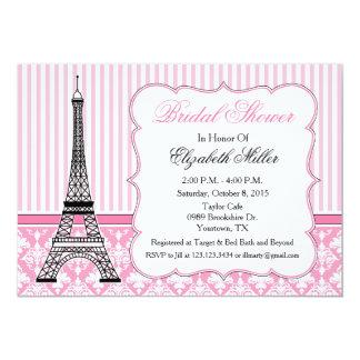 Rosa del fiesta del tema de la torre Eiffel de Invitación 12,7 X 17,8 Cm