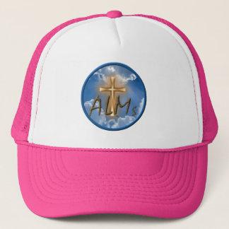 Rosa del gorra del logotipo de las limosnas