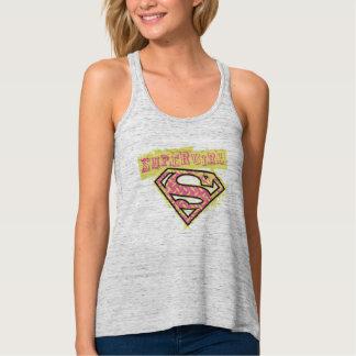 Rosa del logotipo del Grunge de Supergirl Camiseta De Tirantes Cruzados Holgada